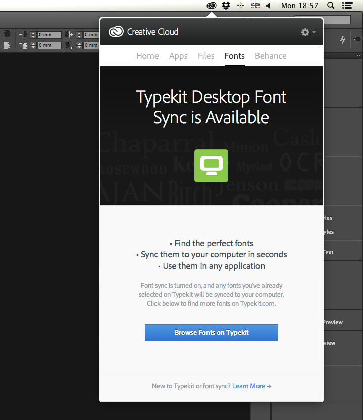 Typekit in Creative Cloud