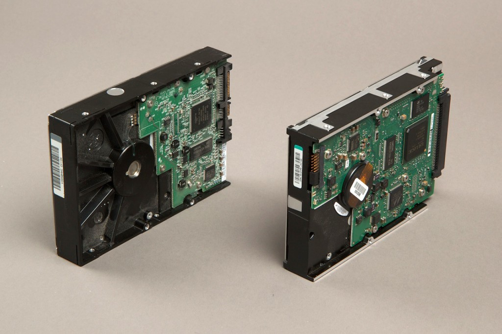 Hard drives are used as a solid base for bigger objects