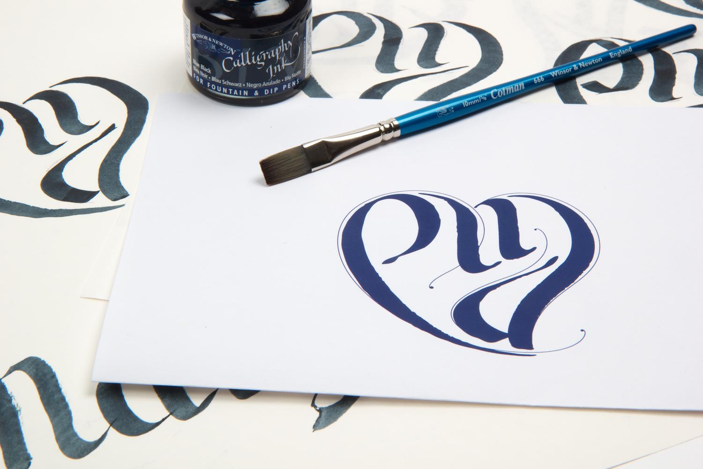 I heart branding Calligraphy logo