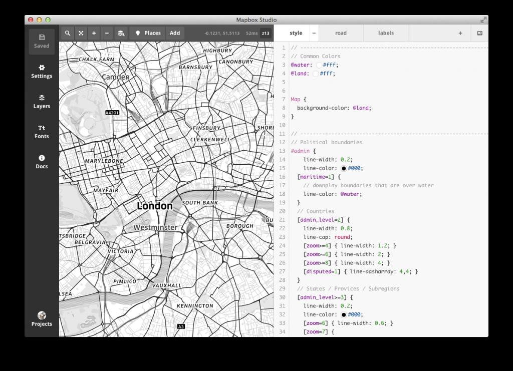 Mapbox Studio Editor