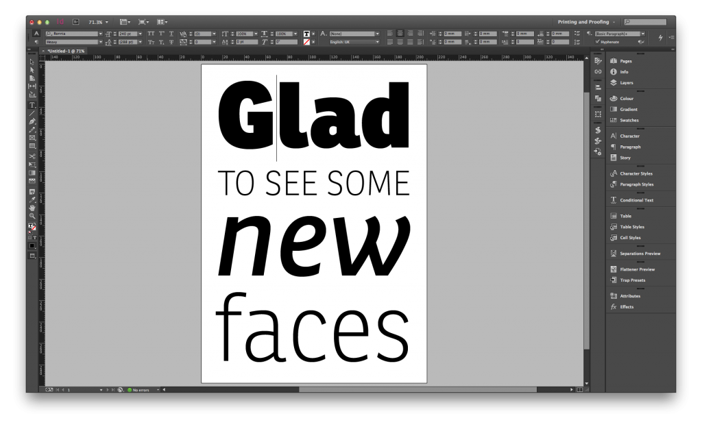 Having fun with the new typeface